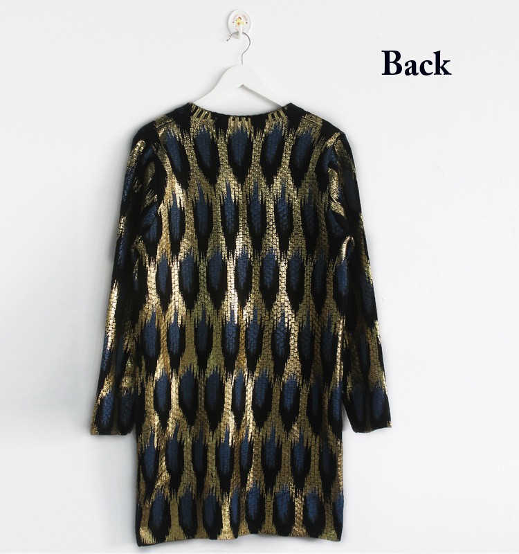 Peacock Printing Knitting Long Cardigan Sweater