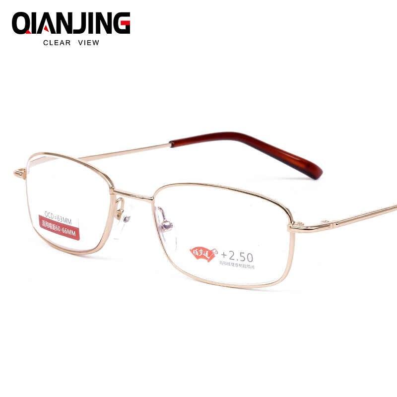 QianJing Full Metal Frame Lentes De Vidro do Sexo Feminino Masculino Óculos Mulheres Homens Unisex Óculos de Leitura + 1.0 + 1.5 + 2.0 + 2.5 + 3.0 + 3.5 + 4.0