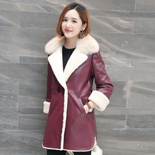 Ptslan Women's Real Leather Jacket  Fashion Bright Colors Black  Coat  Long Coat  Female Wool liner