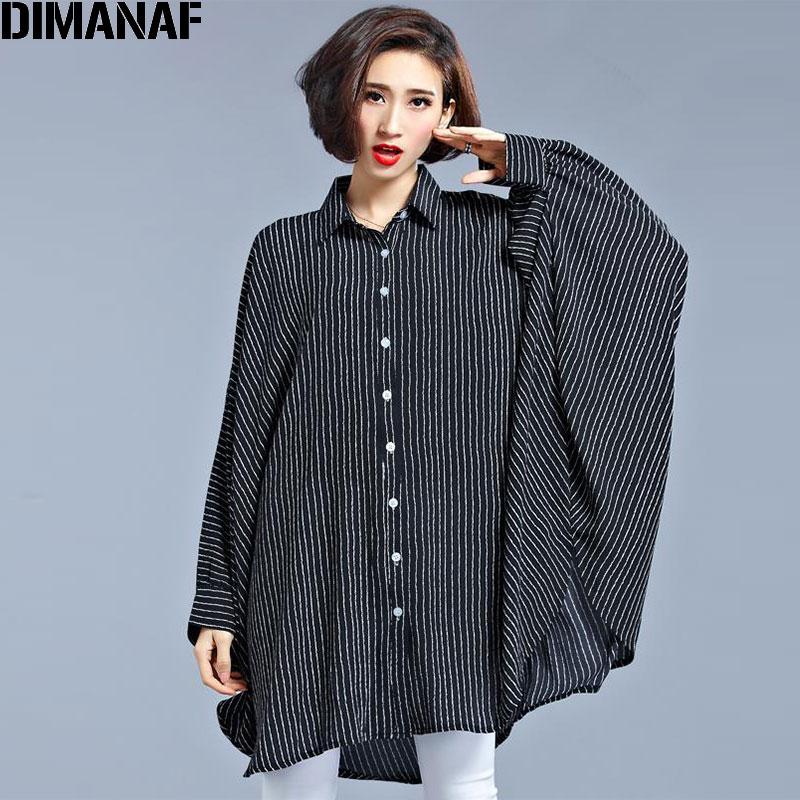 Tallas grandes Blusa de gasa Vestidos de las mujeres Tamaño grande Primavera Impresión a rayas Ropa Casual Manga Batwing Elegante Vestido de Moda Suelta