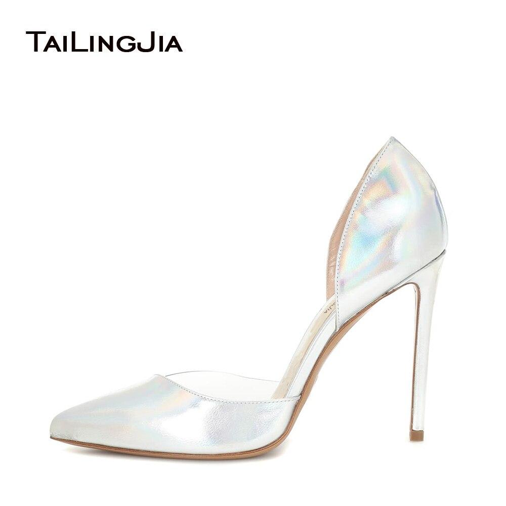 Argenté brillant femme pompes sans lacet femmes clair Transparent Pvc miroir Surface dames haut talon bout pointu chaussures livraison gratuite