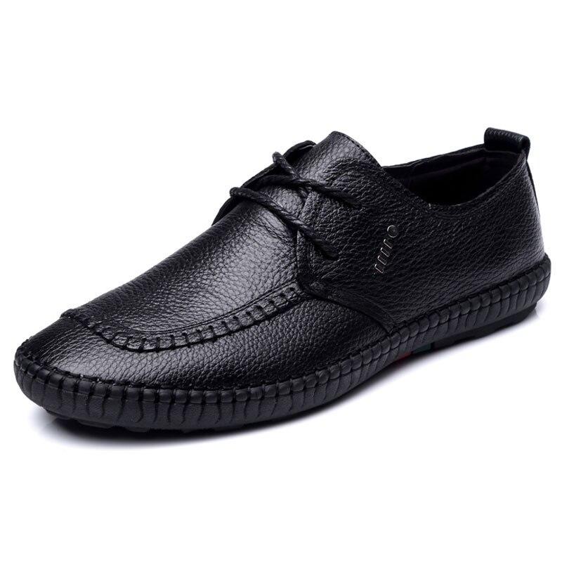 2017 Nueva Llegada de Los Hombres Zapatos Casuales Zapatos de Cuero Genuino Negr