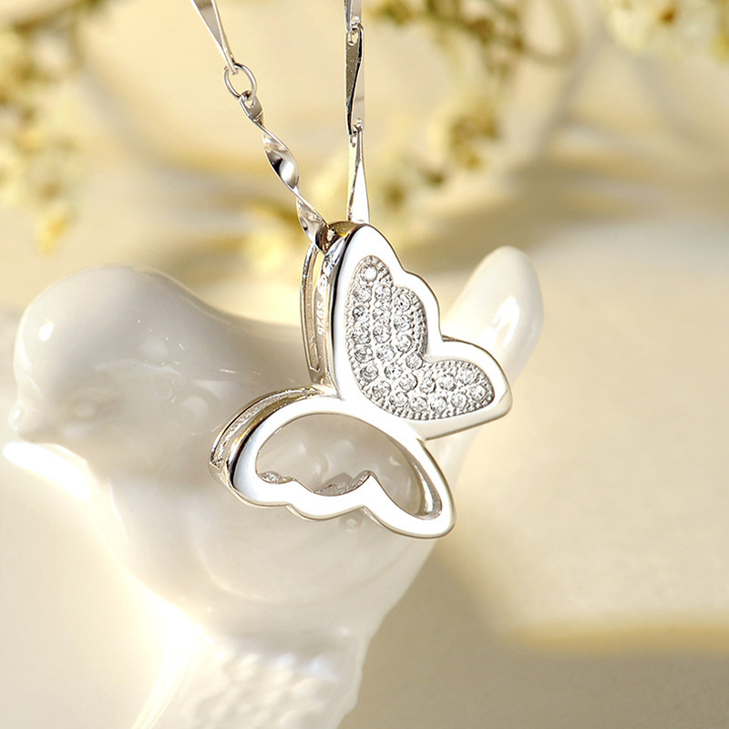 TJP Shiny Zircon Butterfly Pendant Necklace For Girls Party Accessories Fashion Female 925 Silver Choker Jewelry Lady