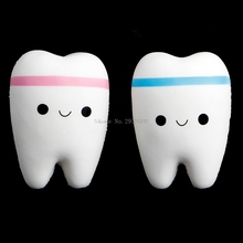 1Pc Cute Tooth Jumbo Squishy Slow Rising Squeeze Stress Hand Soft Toy Phone Pendant B116