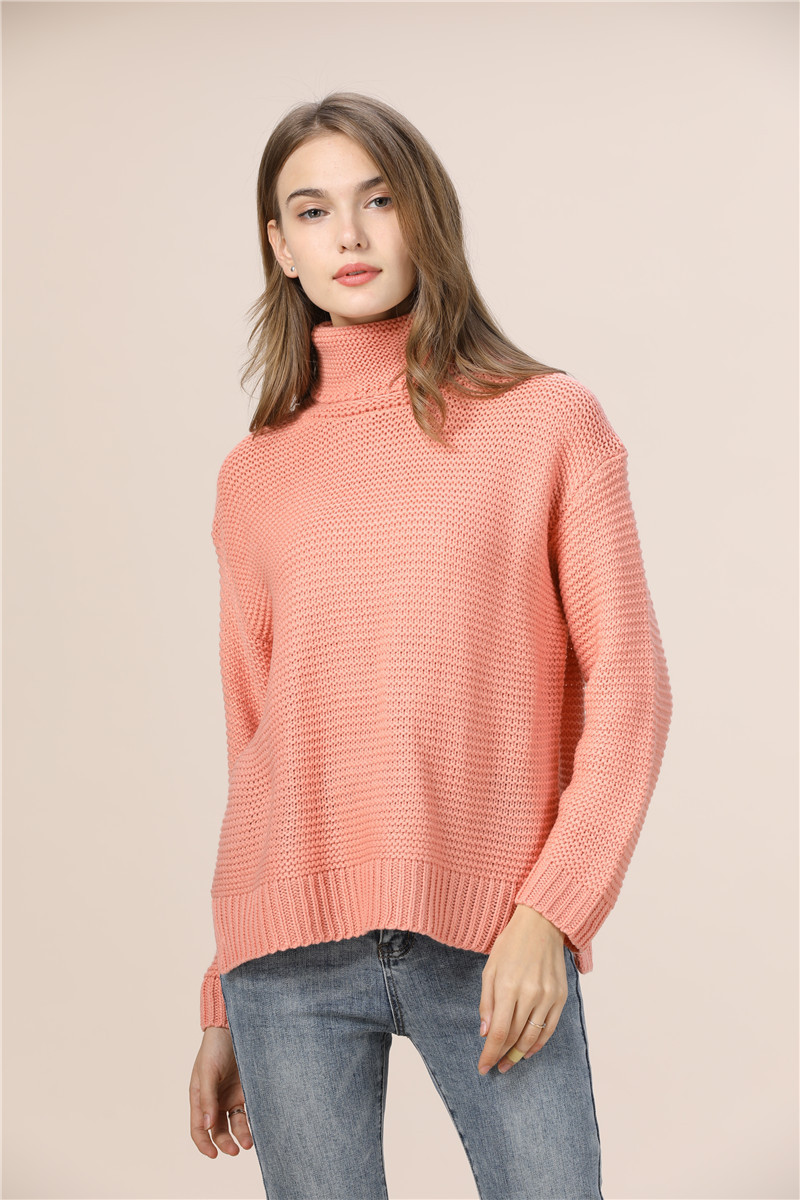Casual Loose Autumn Winter Turtleneck Sweater Women Oversize Solid Knitted Sweaters Warm Long Sleeve Pullover Sweater Black Pink 9