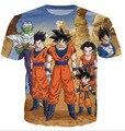2016 New Arrival homens e mulheres de T Dragon Ball Z Goku 3D T Shirt engraçado Anime Super Saiyan T - camisas O - pescoço Tops