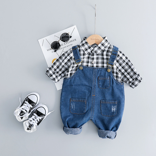Childrens Clothing Set for Boys Girls Long sleeves Clothes Suit Denim Overall + Plaid Shirt 3 Colors Choose Childrens Suit