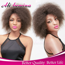 Cheap Afro Kinky Synthetic Lace Front Wig African American Short Wigs For Black Women Ombre Red