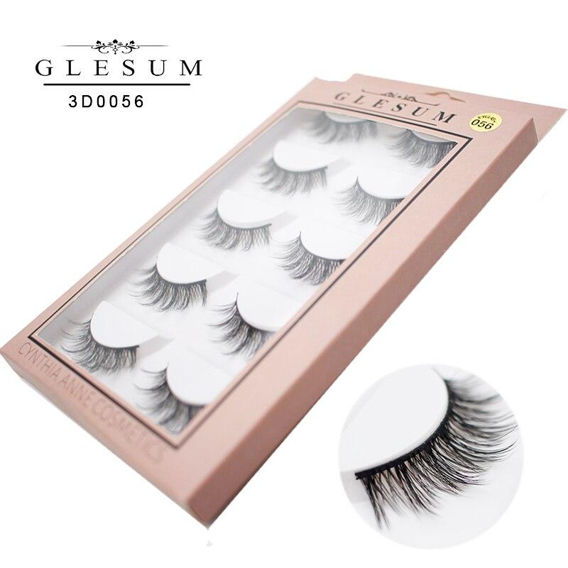 GLESUM 5 Pairs Eyelashes Natural Soft long 3D Lashes Eyelashes False lashes Free Shipping in False Eyelashes from Beauty Health