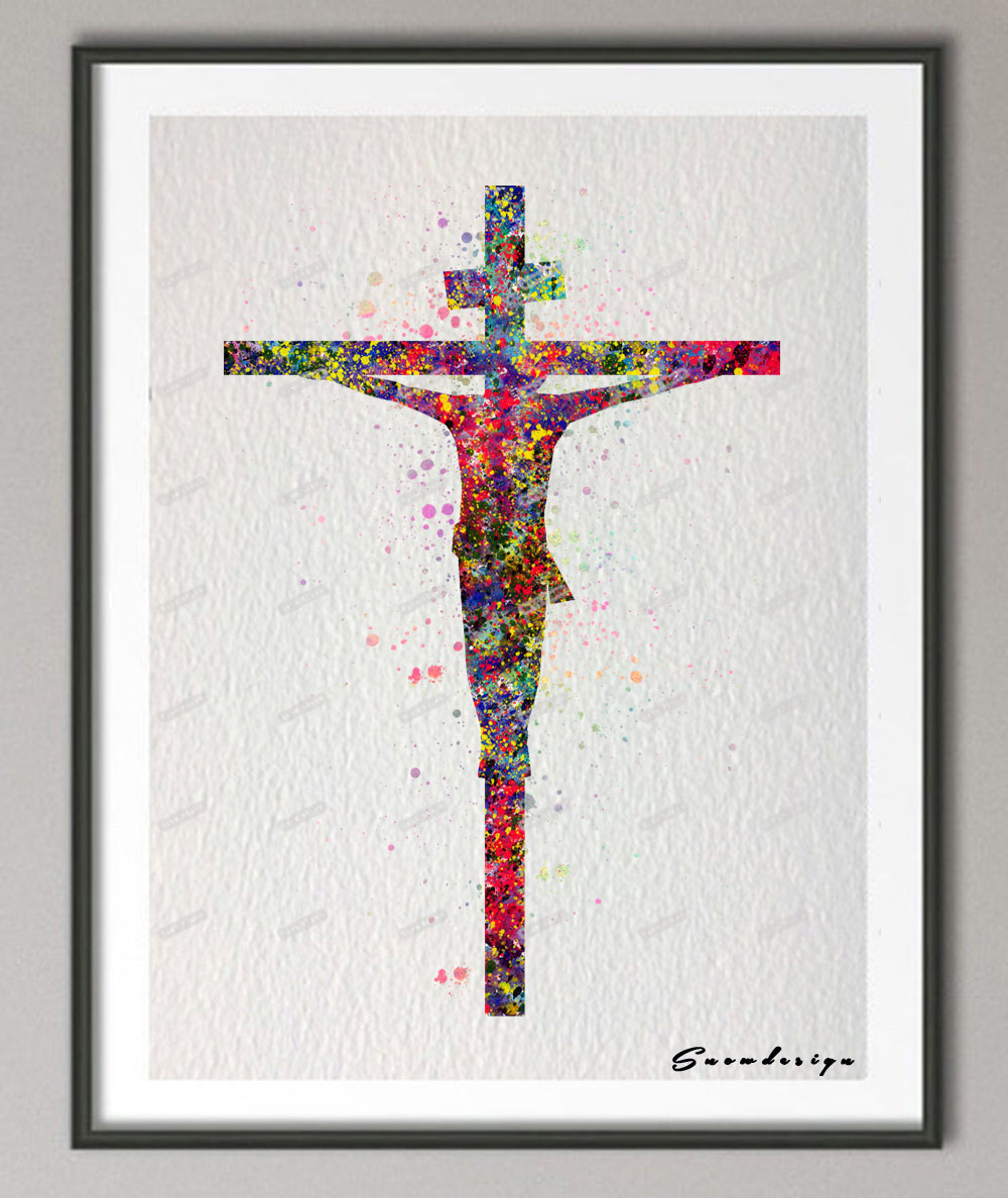 Diy original watercolor jesus on the cross canvas painting for Pop wall art