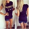 Mujeres Brooklyn Camisetas del camiseta de Letras de Oro de la Estrella Impreso Negro kawaii t shirt tee camisa vetement femme