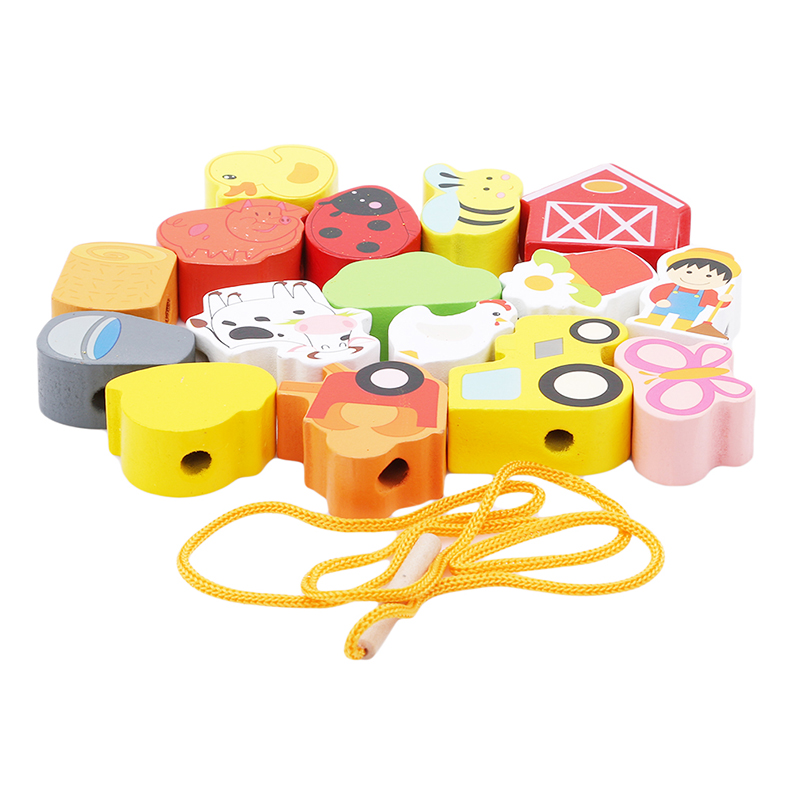 Hot Sale Wooden Toys Baby Flower Beads String Lacing Puzzle Early Learning Educational Toddler Toys For Children 2-4 Years