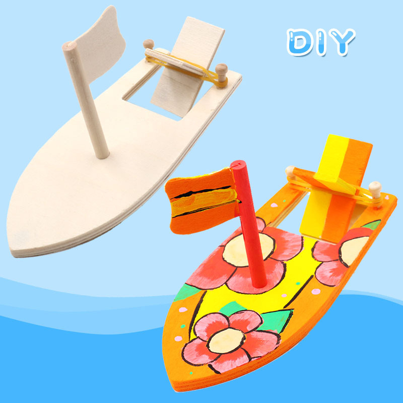 Wooden Sailboat Creative Blank Model Kindergarten Children Painted DIY Boat Handmade Material Kits Educational Puzzle Toys