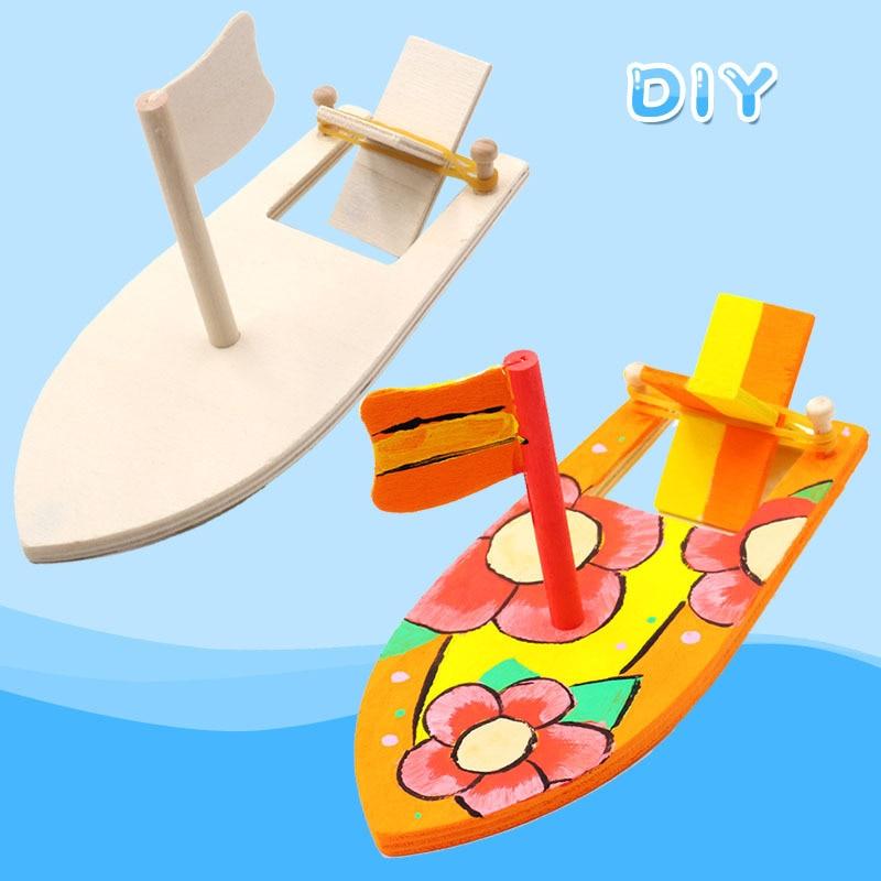 Wooden sailboat creative blank model Kindergarten children painted DIY boat handmade material kits educational puzzle toys