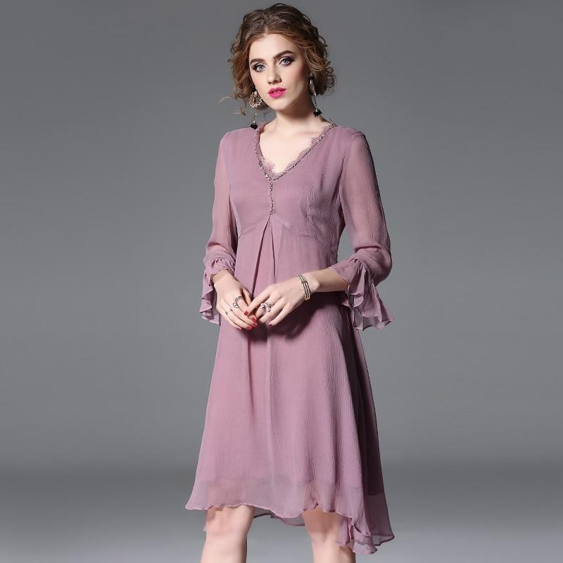 High quality 2018 NEW spring summer Ruffle Flare Sleeve defined waist A-line handmade V-neck beaded dress women vestidos