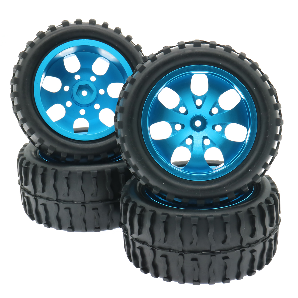 RCAWD Wheel Rim Tyre tire Set 4PCS Set 7 Spoke for 1 10 Big Foot Monster