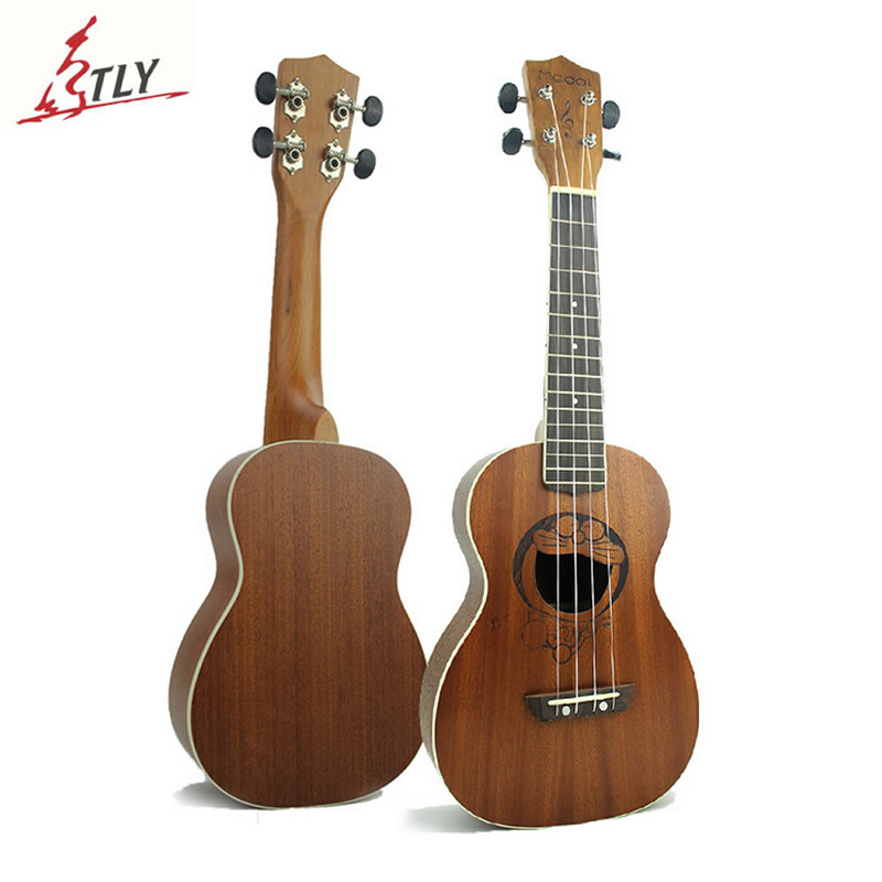 Mcool 23 inch Concert Ukelele Ukulele Handcraft Sapele Wood Acoustic Uke Carving Doraemon Hawaii Mini Guitar soprano ukulele neck for 21 inch ukelele uke hawaii guitar parts luthier diy sapele veneer pack of 5