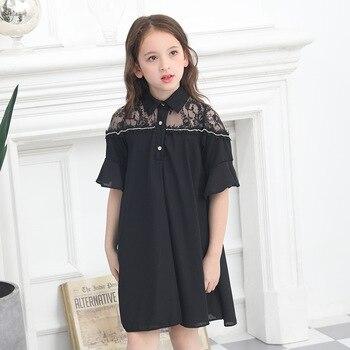2019 Lace Shoulder Dress Turn-down Collar Summer Dresses Princess Korean Short-sleeved Vestidos Black Shirt Dress for Teenagers