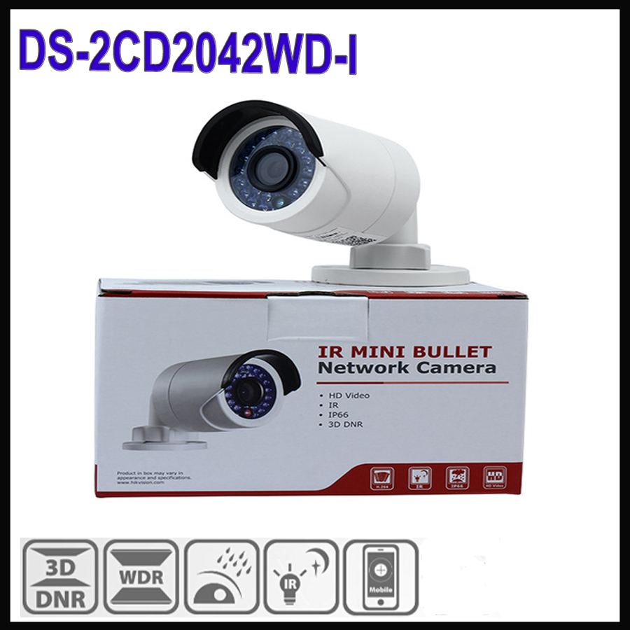 Hikvision mini ip camera poe 4mp DS-2CD2042WD-I waterproof ip66 cctv camera outdoor 30m similar as ds-2cd2042-I