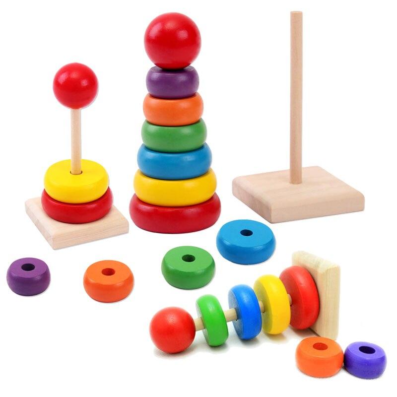 1 Pcs Nieuwe Ontwerp Kids Baby Speelgoed Houten Stapelen Ring Toren Educatief Speelgoed Regenboog Stack Up Leren Onderwijs Bouwstenen In Veel Stijlen