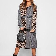2019 New Women Spring Sashes Dresses Stripe Leopard Print Lady High Waist Long Sleeve Shirt Dress Plus Size A-line Vestido Femme