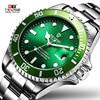 TEVISE Men Watch Luxury Brand Automatic Mechanical Watches Green Dial Calendar Waterproof Male Watch Luminous Relogio