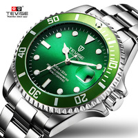 TEVISE Green Watch Men Automatic Mechanical Anti Scratch Rotatable Outer Ring Waterproof Luminous Mens Watches Top Brand Luxury