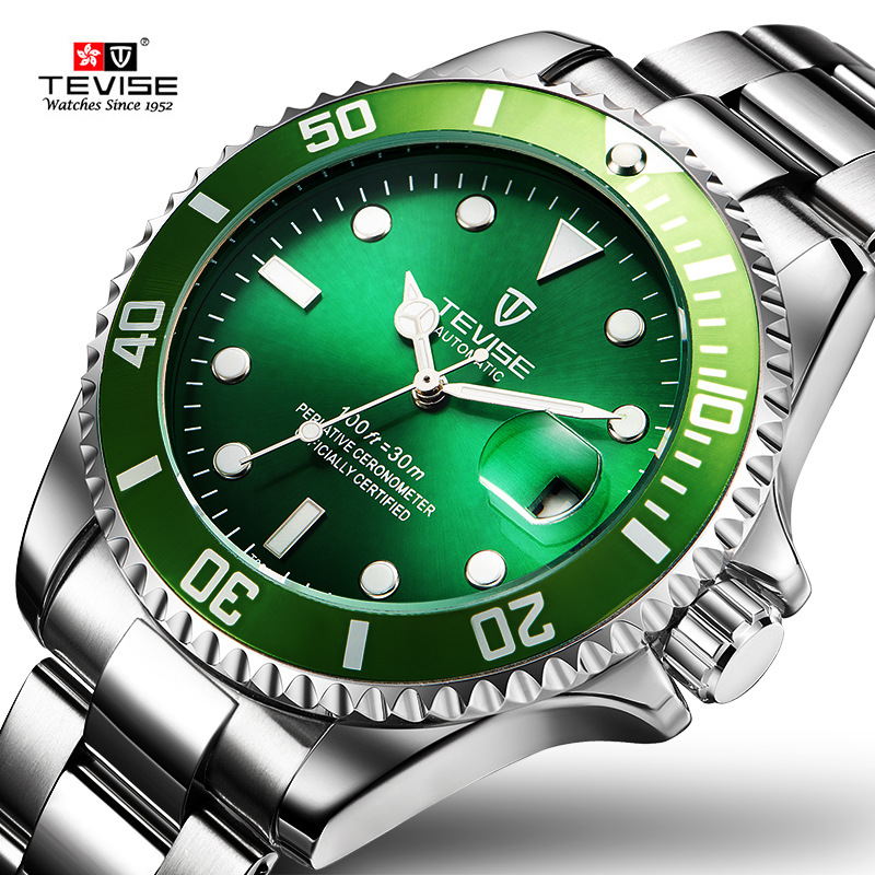 TEVISE Homens Relógio Mecânico Automático Anti-Risco Externo Rotativo Verde Anel Luminosa À Prova D' Água Mens Relógios Top Marca de Luxo
