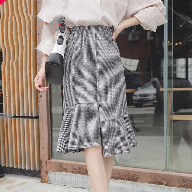 2019 autumn winter new plus size casual loose elastic waist plaid long ruffle skirt gray woman large size skirts 3XL 4XL 5XL 6XL