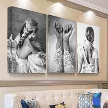 Retro Black and White Picture HD Print Girl Wedding Dress Canvas Painting for Living Room Wall Decor Angel Poster Art Home