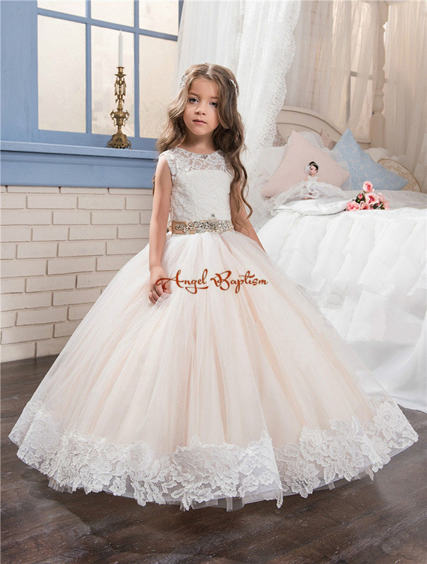 2017 Lovely Champagne Princess flower girls dresses sheer Crew Neck appliques with train bow pageant gowns for birthday party