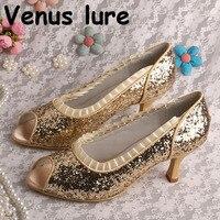 Custom Handmade Glitter Gold Shoes Size 7 Open Toe Ladies Pumps Mid Heel