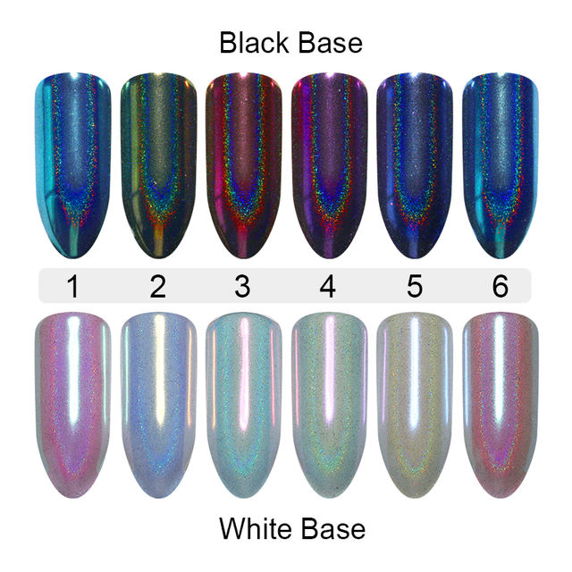 Nail Glitter Powder Chameleon Mirror Holographic Shimmer Glitter Paillette Pigment Powder 0.5g For UV Gel Polish Decoration
