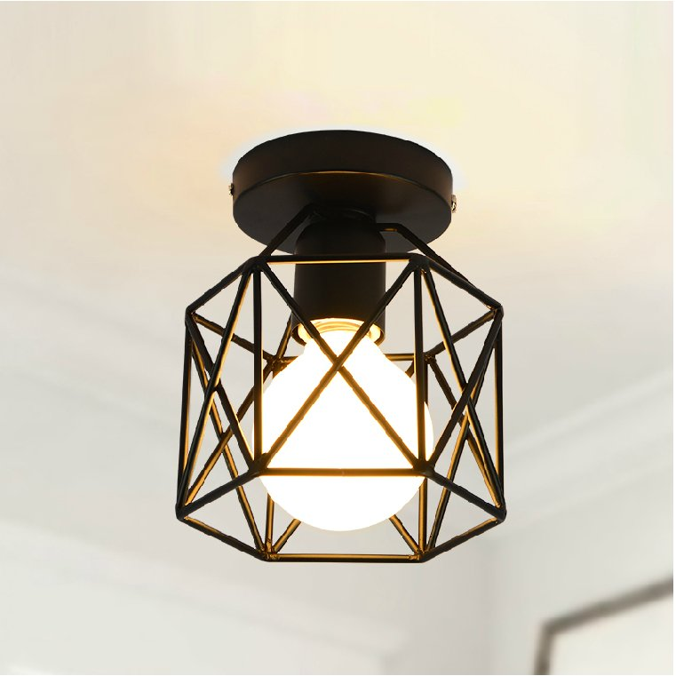 ФОТО Cage Shaped Industrial Retro Ceiling Light Iron Material E27 outdoor lighting  modern led ceiling lights for living room