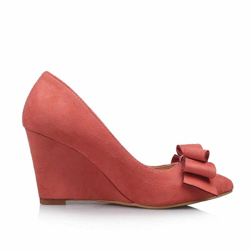ZOGEER รองเท้าส้นสูงแบบสบายๆรองเท้าสตรีแฟชั่น Wedges สีชมพูผู้หญิงปั๊มชี้ Toe FLOCK Bow Office งานแต่งงานรองเท้าฤดูใบไม้ผลิฤดูใบไม้ร่วง