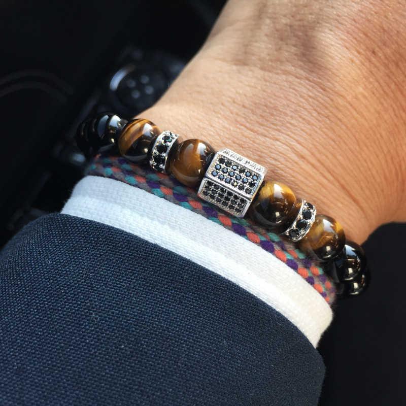 Mcllroy bransoletka mężczyźni luksusowe złoty sześcienne cyrkonie bransoletki męskie kamień bransoletka Pulseira Masculina biżuteria Blackfriday prezent