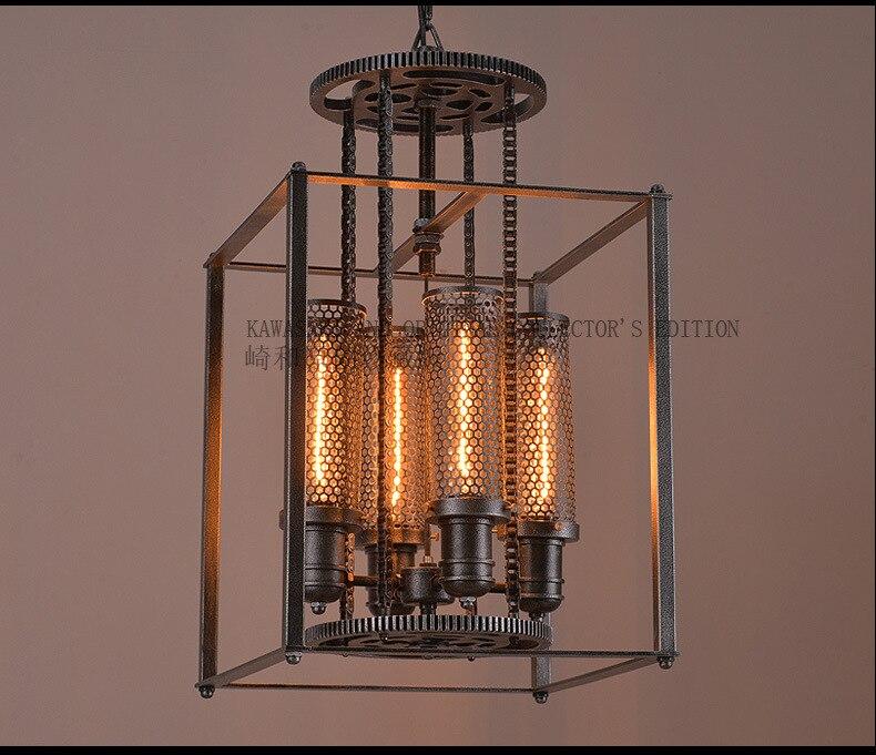 4 Heads Idustrial Retro Iron Pendant Lamp Art  Loft Style Square Shade Parlor Light Dining Light Free Shipping