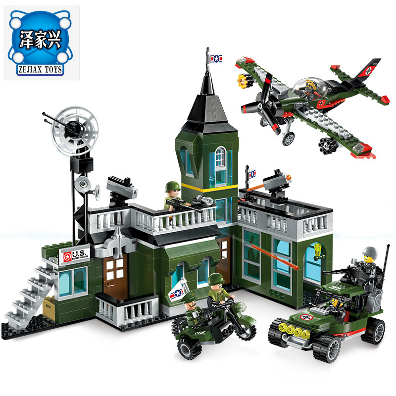 627pcs Enlighten Building Block Military Battle Land Force Bombing Command Headquaters 6 Figures Educational Bricks Toy Boy Gift конструктор enlighten brick город 111 центр спасения мчс г13594