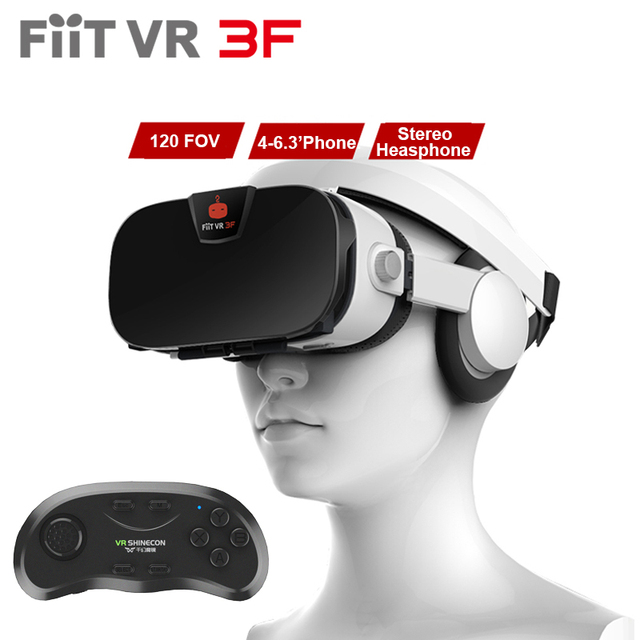 With Headphone Fiit VR 3F 112FOV 42mm Lenses Virtual Reality 3D Glasses Headset VR BOX Helmet Googles Cardboard + for4-6.4'phone