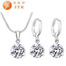 Гипоаллергенные ожерелье/серьги медное кубический циркон наборы круглый оптовая ювелирные цветов женщин