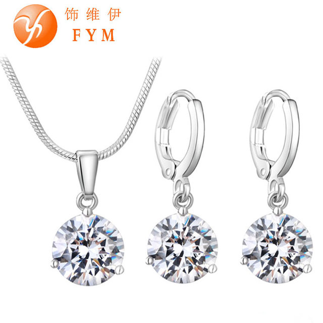 21 Colors Jewelry Sets for Women Round Cubic Zircon Hypoallergenic Copper Necklace/Earrings Jewelry Sets Wholesale