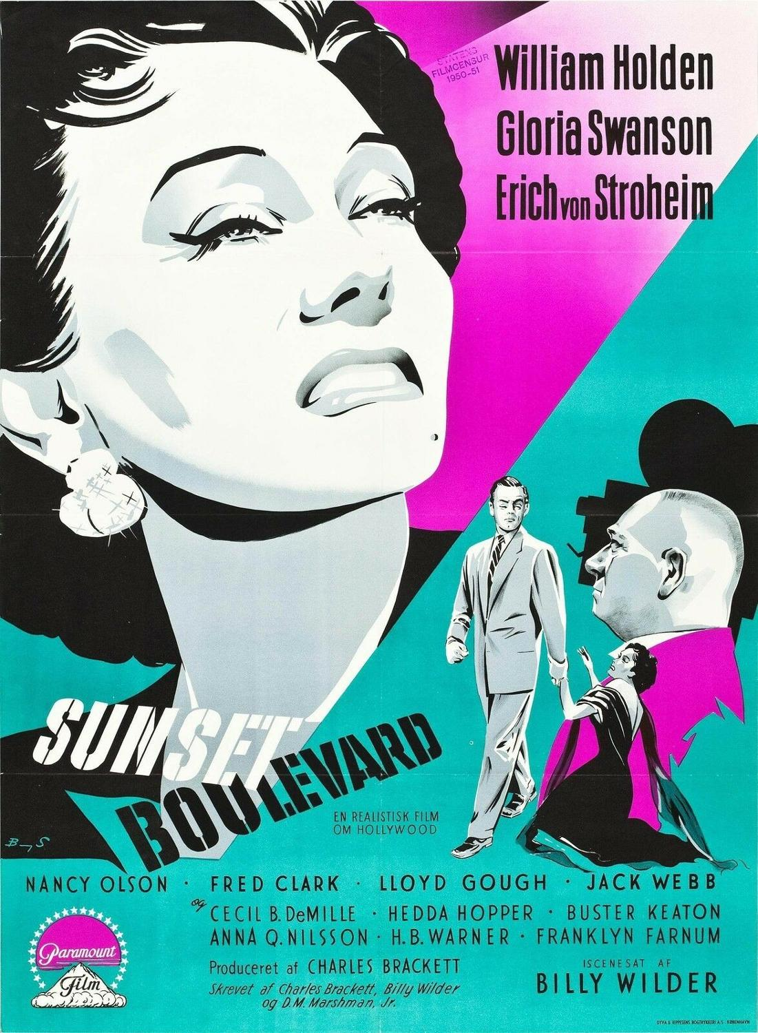 N0344 SUNSET BLVD Movie 1950 Hollywood Film Noir Wall Sticker Silk Fabric Poster Art Indoor Decor Bright image