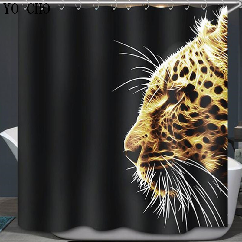 New High Quality Animal lion Leopard 3D Shower Curtain Polyester waterproof fabric rideau douche halloween shower curtain