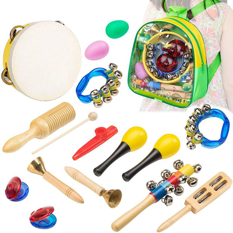 Musical Instrument Toys For Kids - 15 Pcs Percussion Set For Toddlers Preschool Educational Learning Musical Toys Including Ta