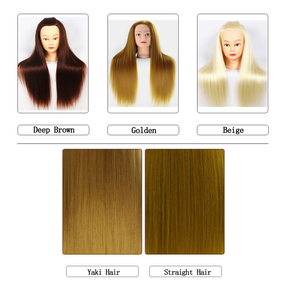 Professional Mannequin Head With Long Synthetic Hair For Barber Hairstyles Training Manikin Heads With Clamp And Scissors Dummy