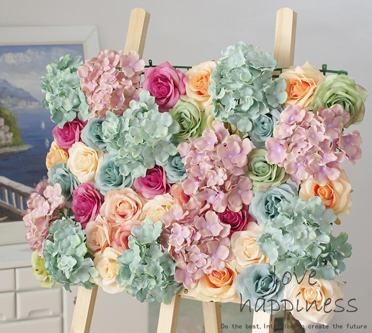 10pcslot Artificial Silk Rose With Hydrangea Flower Wall Wedding