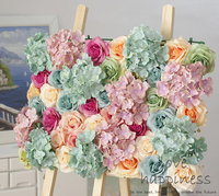 10pcs/lot Artificial silk Rose with Hydrangea flower wall wedding background Flower Wall decoration Wedding decoration 40*60cm