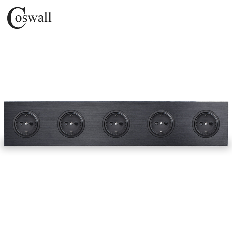 Coswall Black Aluminum Panel 16A Quintuple EU Standard Wall Power Socket 5 Way Outlet Grounded With Child Protective Lock coswall high quality wall power 5 way socket plug grounded 16a eu standard electrical quintuple outlet 430 mm 86 mm