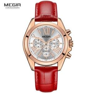 Image 2 - Megir 女性のカジュアルクォーツレッド腕時計クロノグラフレザーストラップビジネスの腕時計 relogios feminiinos 時計 2114