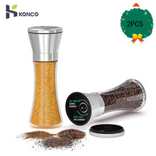 KONCO 2PCS Salt Pepper Mills Grinders Set, Stainless Steel Sea Salt Peppercorn Mill with Adjustable Ceramic Grinder-Glass Body walter mills auto glass